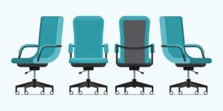 Kontorsstol eller skrivbordstol i olika punkter av sikten Fåtölj eller stol framme, tillbaka, sidovinklar Blått möblemang för inr Royaltyfri Fotografi