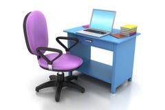 Kontorsstol och datortabell Arkivbilder