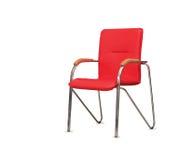 Kontorsstolen från rött läder isolerat Royaltyfri Fotografi