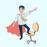 Kontorssuperhero på stol Fotografering för Bildbyråer