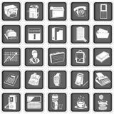 Kontorssymboler royaltyfri illustrationer