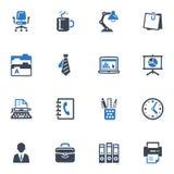 Kontorssymboler - blåttserie Arkivbild