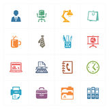 Kontorssymboler - kulör serie Arkivfoton