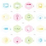 Kontorssymbolsuppsättning, blått, gräsplan, rosa färg, gul färgstil Arkivfoto