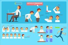 Kontorssyndrominfographics, fel sammanträde i illustrationen för arbetsplats-, hälsovård- och läkarundersökningbegreppsvektor vektor illustrationer