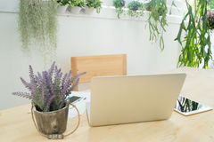 Kontorstabell med baksida av skärmbärbara datorn, informationsdata, tabell arkivfoto