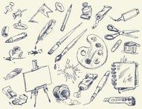Kontorstillförsel. Produkter för konstnärer Arkivfoton