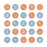 Kontorsutrustning och objekt sänker symboler Arkivfoto