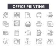 Kontorsutskriftslinje symboler för rengöringsduk och mobil design Redigerbart slaglängdtecken Kontor som skrivar ut översiktsbegr vektor illustrationer