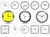Kontorsväggklockor och 10 tar tid på symboler stock illustrationer