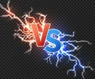 Kontra begrepp med sammanstötning av elektrisk urladdning två Vs vektorbakgrund med den isolerade maktexplosionen av blixt stock illustrationer
