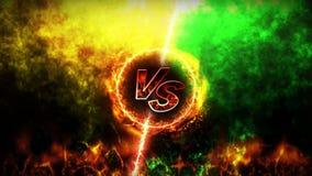 Kontra kampbakgrund Animering för strid- och jämförelsebegreppsögla Vs konkurrens för stridkampsportar royaltyfri illustrationer