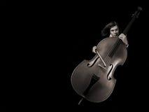 kontrabasmusiker Arkivbilder