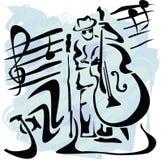 kontrabasspelare royaltyfri illustrationer