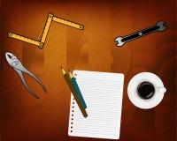 Kontrahenta pojęcia tło Odgórny widok Miejsce dla typografii Projekty, kontrahenta wyposażenie na drewnianym stole i narzędzia i royalty ilustracja