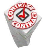 Kontraktacyjny 3d słowa papierkowej roboty sterty stos Dokumentuje Oficjalne kartoteki S Fotografia Royalty Free