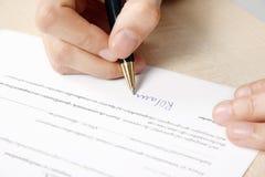 kontraktacyjny podpisywanie Fotografia Stock