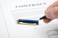 kontraktacyjny podpisywanie Zdjęcie Royalty Free