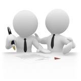 kontraktskrivning för businessperson 3d vektor illustrationer