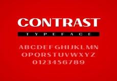 Kontrast-GROTESK-Schriftbild Versalienbuchstaben und Zahlen Stockfoto
