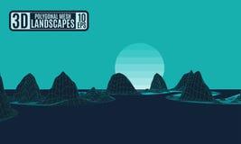 Kontrast krajobrazowe poligonalne zielone neonowe góry ilustracja wektor