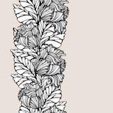 Kontrast-vertikales nahtloses Muster mit Blättern und Tulpen Stockbilder