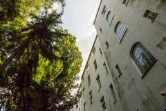 Kontrastera och spänning mellan den mänskliga hus och naturen i en trädgård Arkivfoton