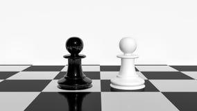 Kontrastieren Sie Konzept unter Verwendung der weißen und schwarzen Wiedergabe der Schachpfand 3d vektor abbildung
