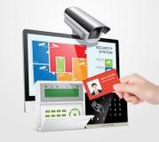 Kontrola dostępu system - alarm strefy z zbliżeniowymi czytelnikami royalty ilustracja