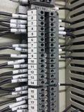 Kontrola, elektryczna, jedzie, ześrodkowywa, kasetonuje, automatyczny, deskowy, przemysł, elektryk, switchgear elektryczny, przem Zdjęcie Stock