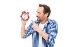 Kontrola i dyscyplina Mężczyzny przypadkowego stylu chwyta budzik Czasu dojutrkostwo i zarządzanie Bierze kontrolę czas zdjęcie stock