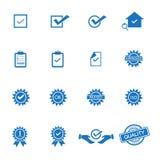 Kontrola jakości ikony wektorowe royalty ilustracja