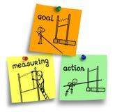 Kontrola jako kierownik funkcja na kolorowe notatki Obrazy Stock