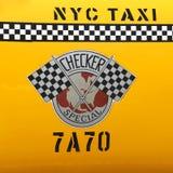 Kontrollörtaxitaxin producerade vid Kontrollören Bila Korporation i New York Arkivfoto
