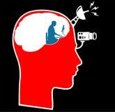 Kontroll av den manliga head symbolen för uppmärksamhet Arkivfoto
