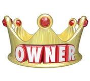 Kontroll för egenskap för hem för krona för ägareord 3d guld- Royaltyfri Foto