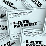 Kontroll för ord för sen betalning som förfallen betalar räkninghögen Royaltyfri Foto