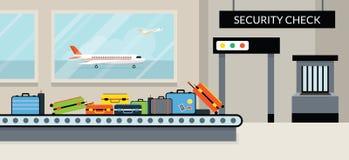 Kontroll för säkerhet för flygplatsterminal Royaltyfri Illustrationer