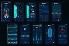 Kontrollbil app Mobila manöverenhetsskärmar som fungerar bilen royaltyfri illustrationer