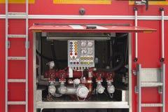 Kontrollbord av brandlastbilen Arkivbilder