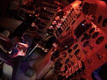 Kontrollbord av det Apollo rymdskeppet från den sena 60-tal som visas på utrymmeexpo Arkivbilder