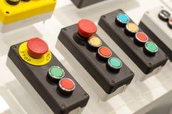 Kontrollbord med knappar royaltyfri fotografi