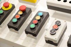 Kontrollbord med knappar royaltyfria bilder