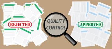 Kontrolldokument för kvalitets- kontroll med godkända och kasserade stämplar royaltyfri illustrationer