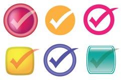 Kontrolle oder Tick Symbol Vector Icon Set Stockfoto