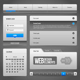 Kontrollen-Element-Gray And Blue On Dark-Hintergrund des Netz-UI Stockfotos