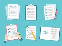 Kontroller för lista för affärskontrollistaprioritet, lista för kontrollfläck och kontrollerapapper för att göra den plana vektor stock illustrationer