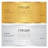 Kontrollera checken, checkbokmall Guillochemodell med vattenstämpeln, spirograph stock illustrationer