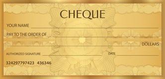 Kontrollera checken, checkbokmall Guillochemodell med vattenstämpeln, spirograph royaltyfri illustrationer