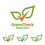 Kontrollera den gröna logoen för ecoen, logodesign Royaltyfri Foto